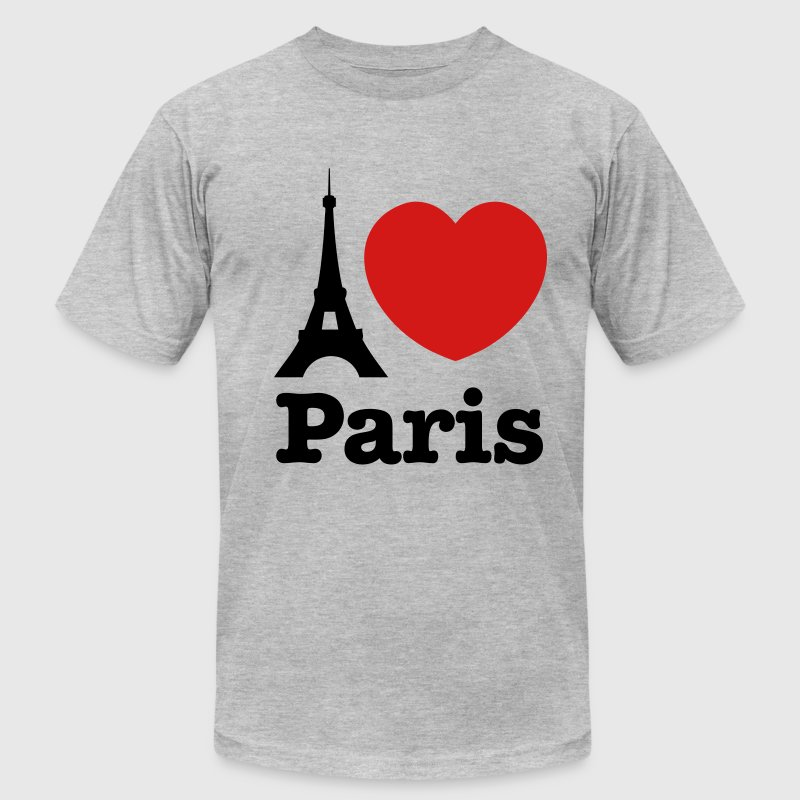 Heather grey I Love Paris T-Shirts - Men's T-Shirt by American Apparel