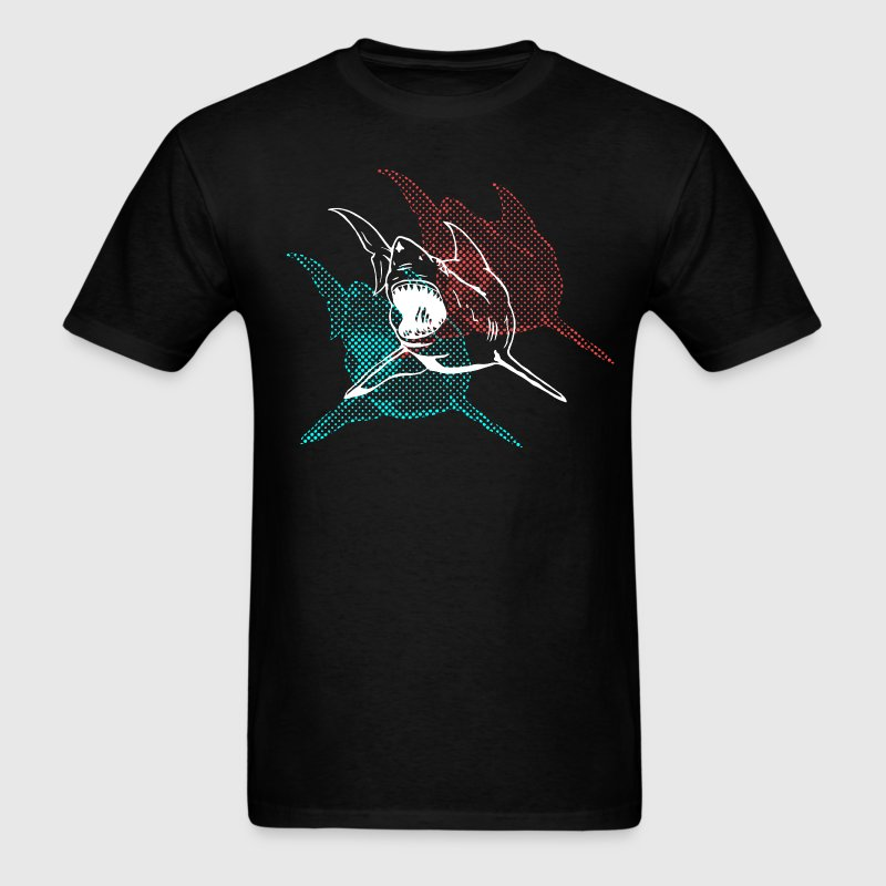 Black 3D Glasses Shark Designer Graphic T-Shirts - Men's T-Shirt