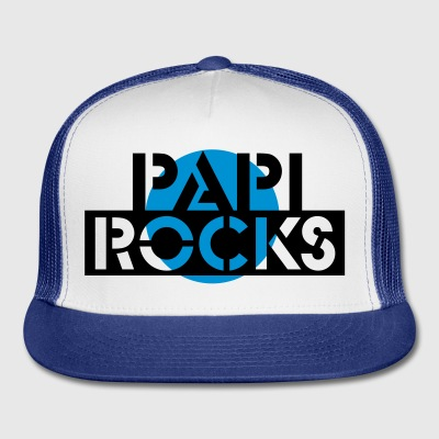 White papi rocks (Text, 1c) Buttons - Trucker Cap