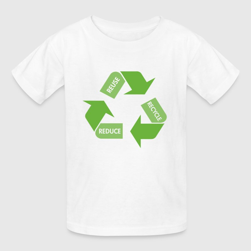 White Recycle Reuse Reduce Kids' Shirts - Kids' T-Shirt