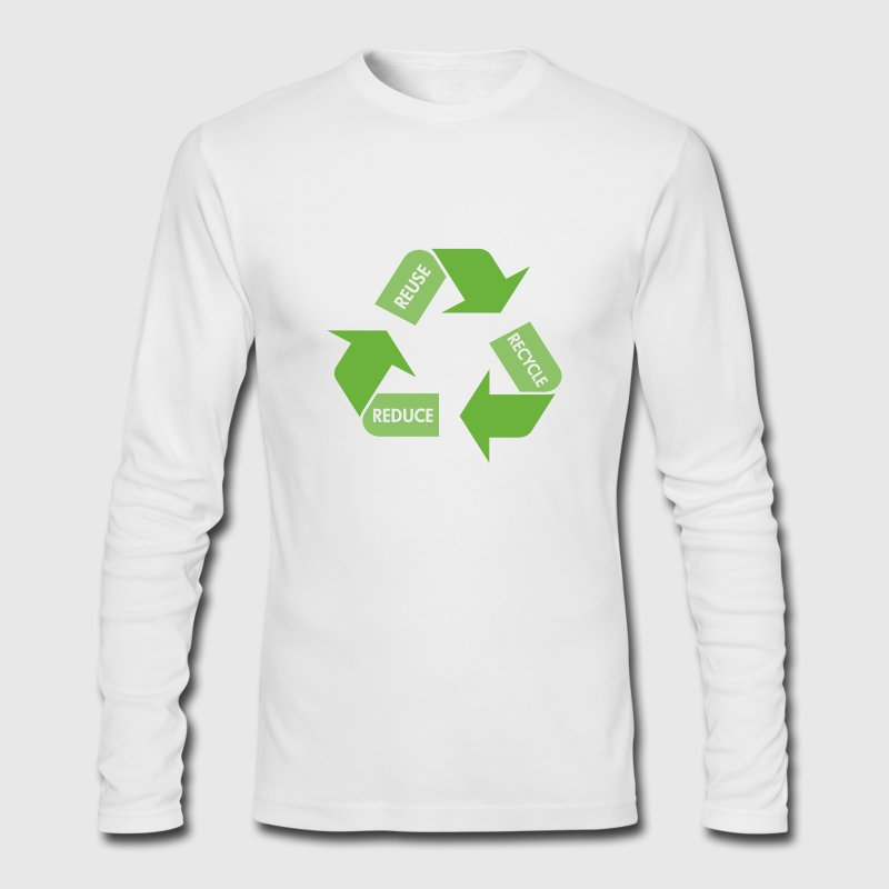 White Recycle Reuse Reduce Long Sleeve Shirts - Men's Long Sleeve T-Shirt by Next Level