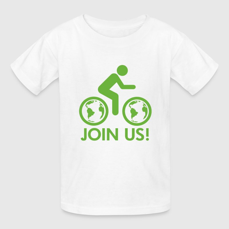 White Join Us Bike Earth Kids' Shirts - Kids' T-Shirt