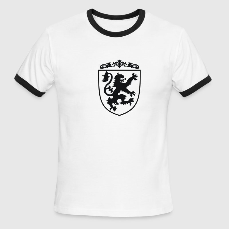 Shield with Lion (Black/White Ringer) - Men's Ringer T-Shirt
