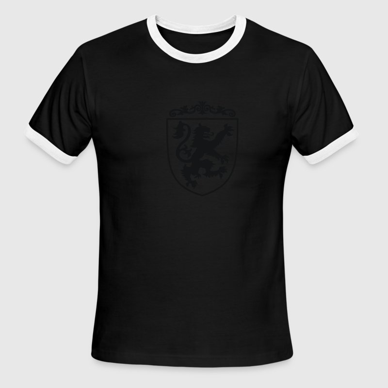 Shield with Lion (White/Black Ringer) - Men's Ringer T-Shirt