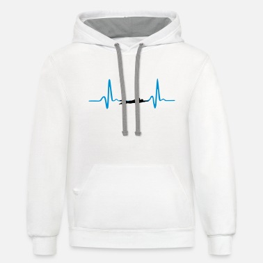 Swimmer Swimming, Swimmer & Heartbeat - Unisex Two-Tone Hoodie
