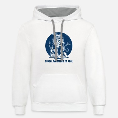 Melting Snowman | Global Warming is Real - Contrast Hoodie