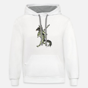 Walking Stick Walking Dog Walking With Stick Hike Mountain - Contrast Hoodie