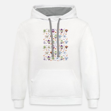 Funny Halloween characters pattern - Contrast Hoodie