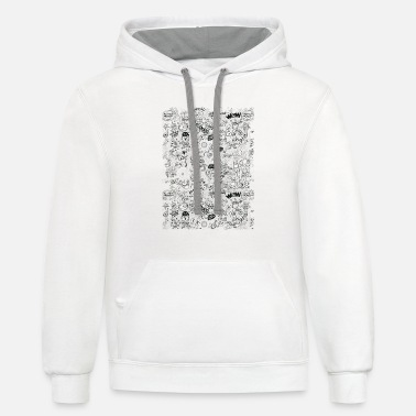 Aliens, celestial bodies and odd machines pattern - Contrast Hoodie