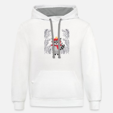 Theme Raccoon in the forest Christmas theme - Contrast Hoodie