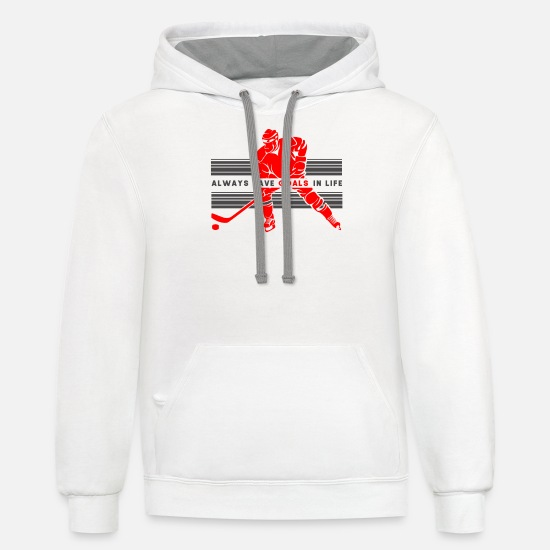 Winter Hoodies & Sweatshirts - Ice Hockey Player Team Fan Ice Skates Sport Gift - Unisex Two-Tone Hoodie white/gray