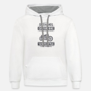 Motorcycle Garage Custom Bike Speedlands Custom Bike - Custom Motorcycle Garage - Unisex Two-Tone Hoodie