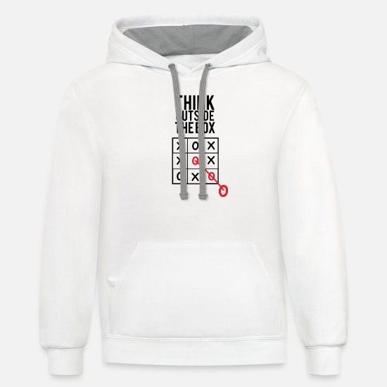 Think Outside The Box - Tic Tac Toe Unisex Two-Tone Hoodie | Spreadshirt