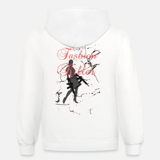 Luck Hoodies & Sweatshirts - Fashion Killer Ladylike glam 2reborn bl - Unisex Two-Tone Hoodie white/gray