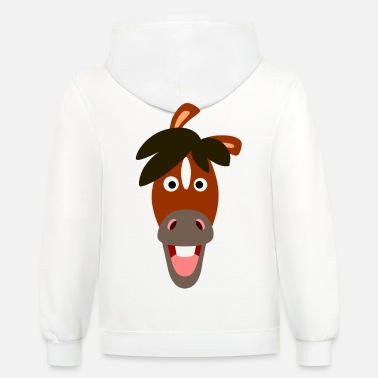 Smiling Cartoon Horse by Cheerful Madness!! - Unisex Two-Tone Hoodie