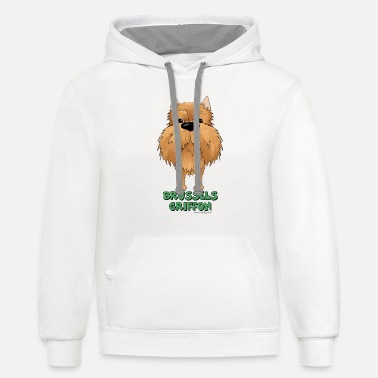 Big Nose Brussels Griffon - Unisex Two-Tone Hoodie