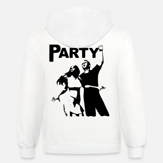 Love Hoodies & Sweatshirts - 2reborn Party Dance Techno Nightlife Love liebe bl - Unisex Two-Tone Hoodie white/gray