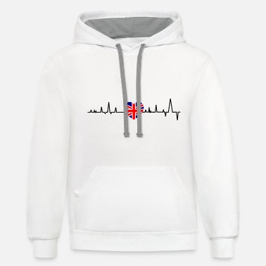 British Flag British heartbeat - Unisex Two-Tone Hoodie