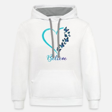 Believe Butterfly Believe Suicide Prevention Awareness - Unisex Two-Tone Hoodie