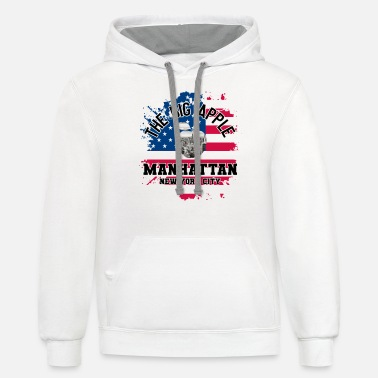Manhattan NYC USA Manhattan The Big Apple - Unisex Two-Tone Hoodie