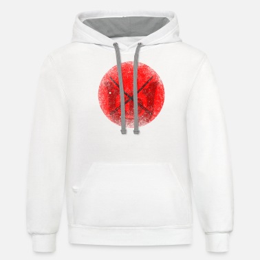 Honor Katana in front of red sun - Unisex Two-Tone Hoodie