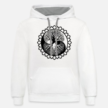 The World Tree, Tree Of Life In Yin Yang Style - Unisex Two-Tone Hoodie