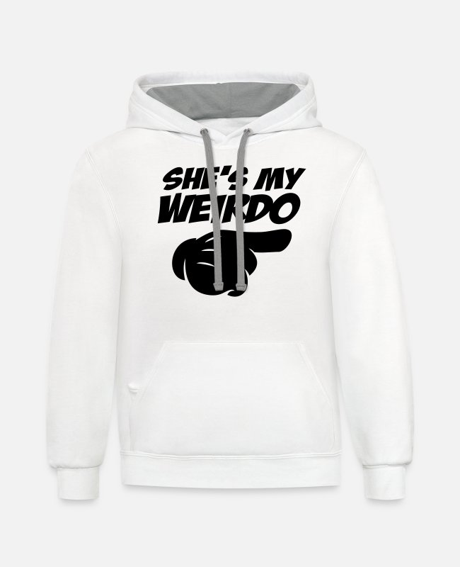 Couples Hoodies & Sweatshirts - she's my weirdo - Unisex Two-Tone Hoodie white/gray