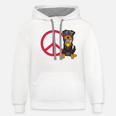 Herding Dog Cool, Peace Lovin English Shepherd - Black and Tan - Unisex Two-Tone Hoodie