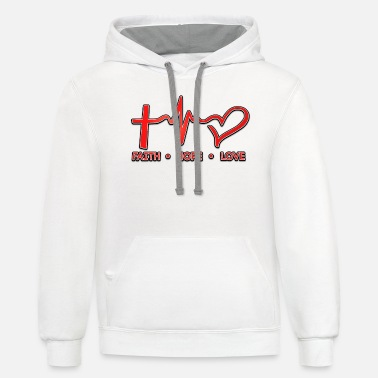 Love Faith Hope Love, Christian, Faith, Jesus, Red 2 - Unisex Two-Tone Hoodie
