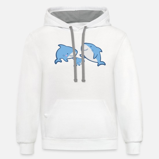 Family Trip Hoodies & Sweatshirts - shark family - Unisex Two-Tone Hoodie white/gray