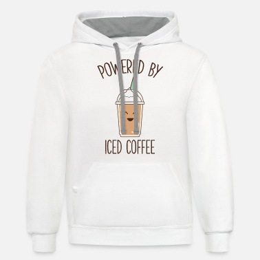 Cute Funny Coffee Gift Powered By Iced Coffee - Unisex Two-Tone Hoodie