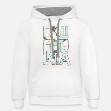 California Beach Gift Palm Tree Summer Vacation - Unisex Two-Tone Hoodie