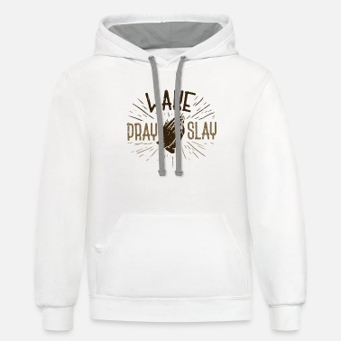 Cool Christian CHRISTIANITY: Wake Pray Slay - Unisex Two-Tone Hoodie