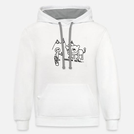 Nepal Hoodies & Sweatshirts - SKATE IN NEPAL - Unisex Two-Tone Hoodie white/gray