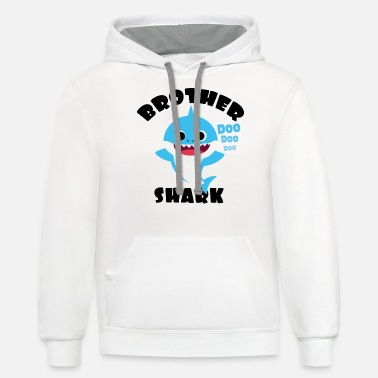 Brother Shark Gift Cute Baby Shark Matching Family - Unisex Two-Tone Hoodie