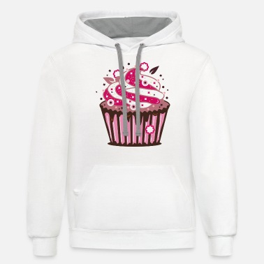 Frost A cupcake with frosting - Unisex Two-Tone Hoodie