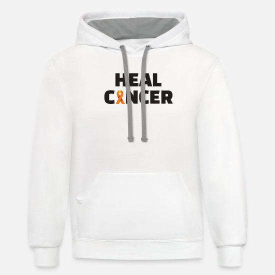 "Healer Hoodies & Sweatshirts - Cancer ""Heal cancer"" - Unisex Two-Tone Hoodie white/gray"