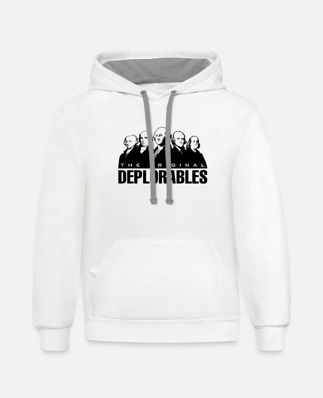 Deplorables Hoodies & Sweatshirts - Founding Fathers - The Original Deplorables - Unisex Two-Tone Hoodie white/gray