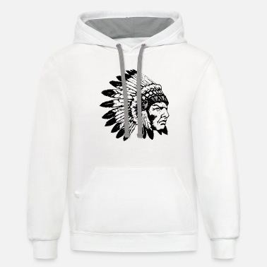 Hustle Tags Hustle Brand Mens White Navy Hustle - Unisex Two-Tone Hoodie