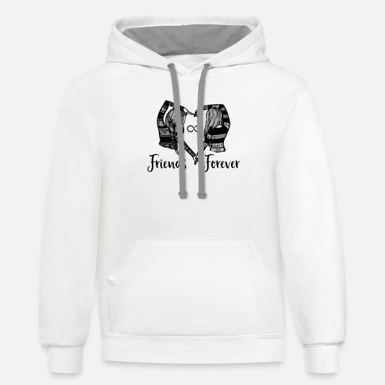 Twins Hoodies & Sweatshirts - Best Friend Infinity Shirt BFF Quote Unique - Unisex Two-Tone Hoodie white/gray