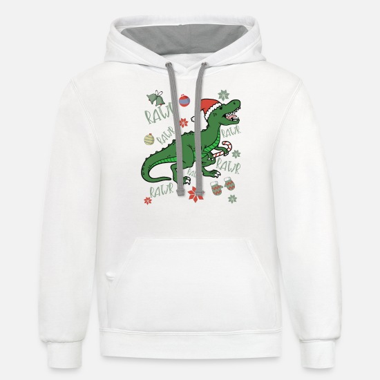 Christmas Hoodies & Sweatshirts - Dinosaur Singing Christmas Carol Holiday print - Unisex Two-Tone Hoodie white/gray