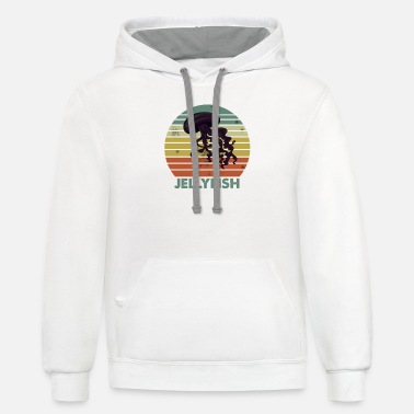 Jellyfish Retro Vintage Jellyfish Ocean Sea - Unisex Two-Tone Hoodie