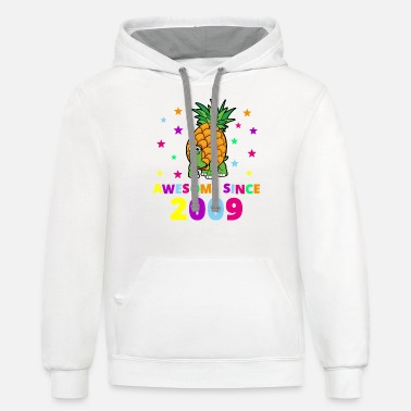 11th Birthday Awesome Since 2009 Birthday Gift - Unisex Two-Tone Hoodie
