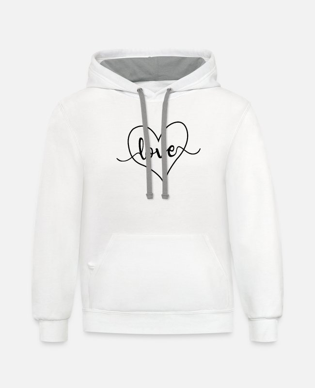 Heart Hoodies & Sweatshirts - Love Heart - Unisex Two-Tone Hoodie white/gray