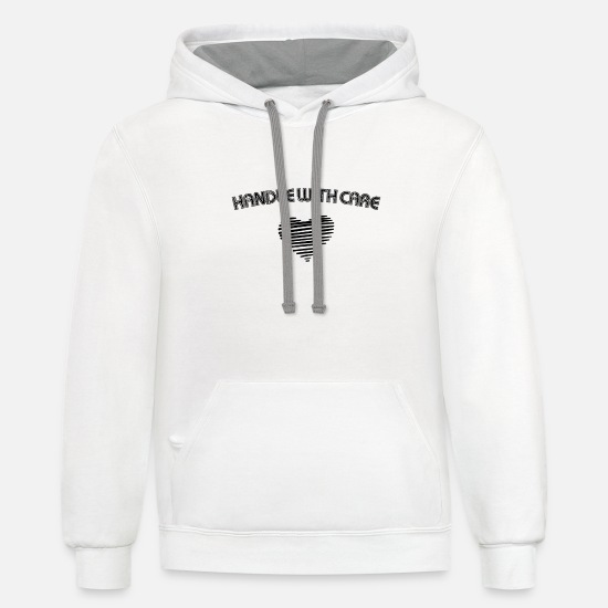 Love Hoodies & Sweatshirts - HANDLE WITH CARE HEARTLY LOVELY LOVE GIFT IDEA - Unisex Two-Tone Hoodie white/gray