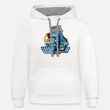 Car Race Engine Hotrod - Unisex Two-Tone Hoodie