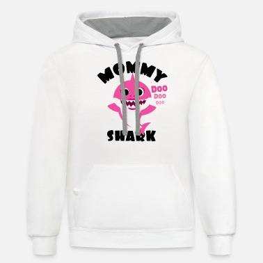 Mommy Shark Gift - Cute Baby Shark Matching Family - Unisex Two-Tone Hoodie