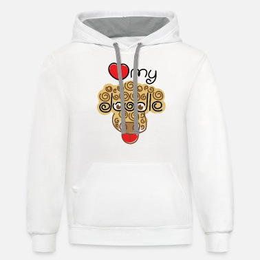 Love my Doodle - Unisex Two-Tone Hoodie