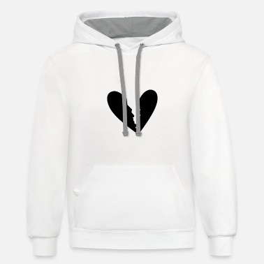 Black Heart Black Brocken Heart Gift Idea Black - Unisex Two-Tone Hoodie
