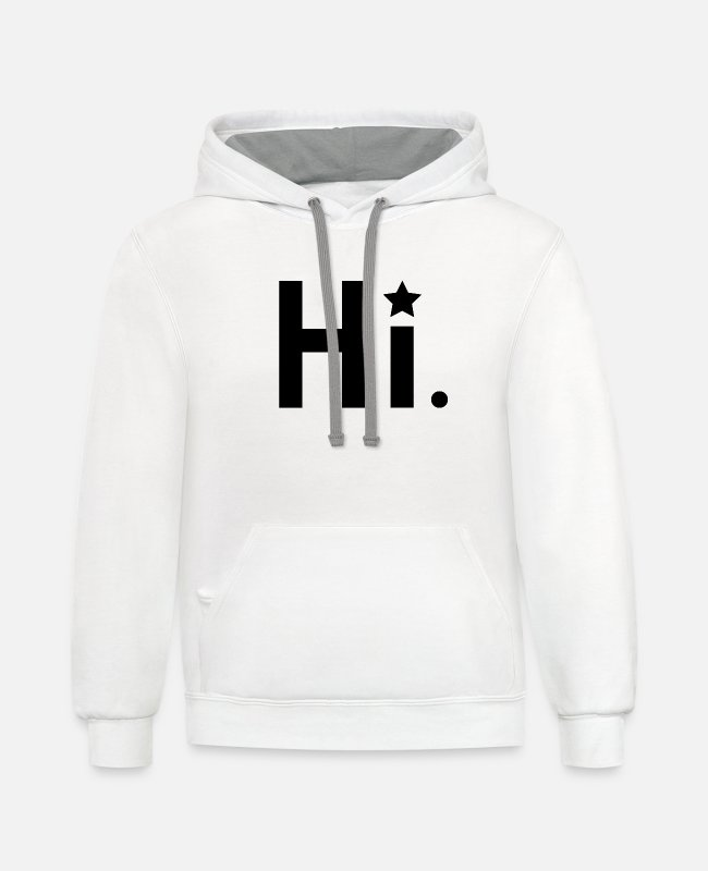 Clever Hoodies & Sweatshirts - hi hello - Unisex Two-Tone Hoodie white/gray